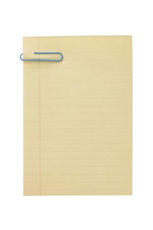 Image of an old blank paper with a blue paper clip isolated on a white background photo
