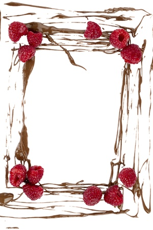 Illustration of a frame made of Chocolate splatter and raspberry fruits