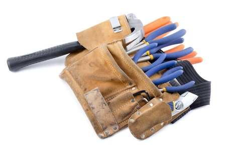 A set of different kinds of tools inside the construction's belt Stock Photo - 17251376