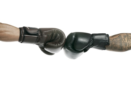 Boxer's clashing their boxing gloves to indicate the start of the fight Stock Photo - 17396106