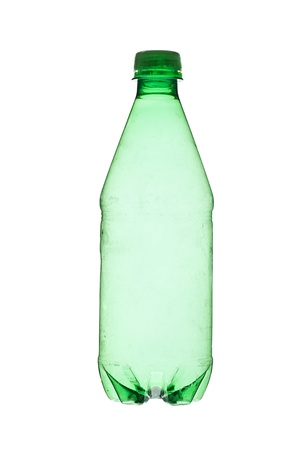 Detailed shot of green plastic bottle isolated over plain white background. photo