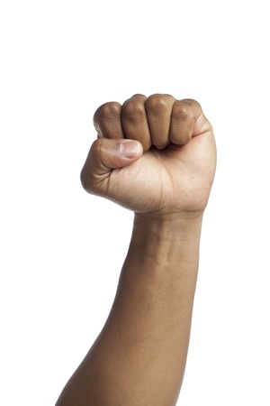closed fist sign: Clenching Closed Fist hand sign gesture as a symbol of anger Stock Photo
