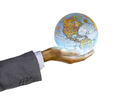Cropped image of a businessman's hand holding a globe, Model: Adam Mirani Stock Photo - 17251275
