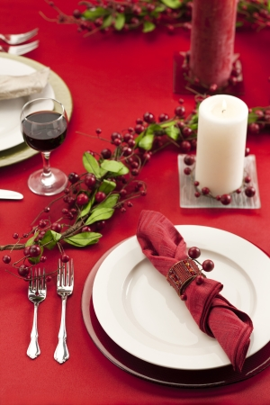 Image of dinner setting with christmas motive photo