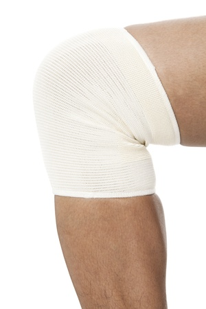 immobilize: Human leg with bandaged in a close-up image Stock Photo