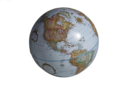 Close-up image of a globe on white background. Stock Photo