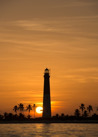 dry tortugas: Distance view of a dry tortugas lighthouse at dawn