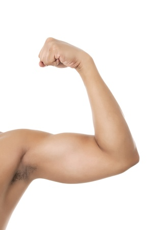 arm: Close-up image of a man flexing his arm to show his muscle on a white background