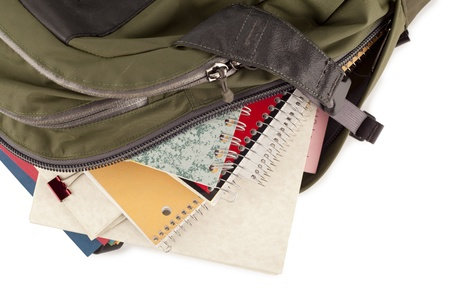 educational tools: Cropped image of a green school backpack overflowing with supplies over the white surface