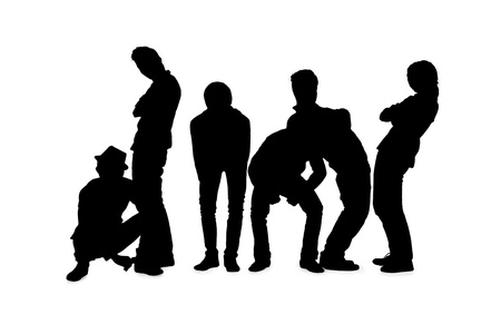 melchor: Silhouette of group of men posing against white. Model: Allen Bernardo Medel, Melchor Kenzo Y. De JesuVI, Ralphe Marvin Ico, Richmond Albert Roxas, Romeo C. Samonte Jr., Rupert Magpayo