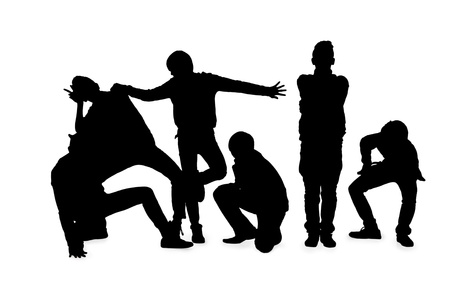 melchor: Silhouetted image of young men posing on white background. Model: Allen Bernardo Medel, Melchor Kenzo Y. De JesuVI, Ralphe Marvin Ico, Richmond Albert Roxas, Romeo C. Samonte Jr., Rupert Magpayo Stock Photo