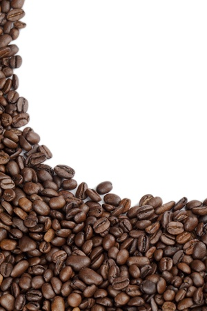 caffeine molecule: Close up image of coffee beans on white background