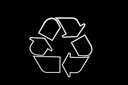 View of a black recycling logo.