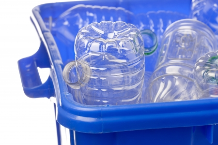 Close-up shot of a blue recycle bin with plastic bottles for recycling. Stock Photo - 17252211