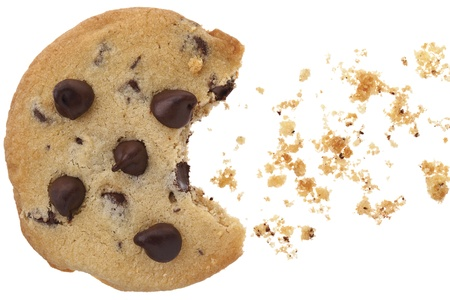 A close-up image of chocolate chip cookies with bite over the white background photo