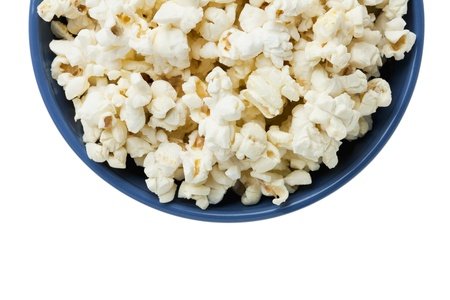 fresh pop corn: Cropped Popcorn in a blue bowl isolated in a white background