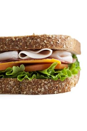 ham sandwich: Ritagliate close up di panino al prosciutto su sfondo bianco Archivio Fotografico