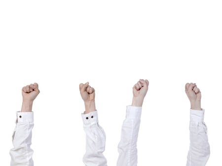 diverse people: Close up image of diverse people raising fist against white background Stock Photo