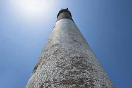 fort jefferson: Low angle shot of dry tortugas lighthouse against blue sky Stock Photo