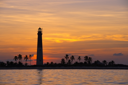 dry tortugas: Dry Tortugas Lighthouse during sunset Stock Photo
