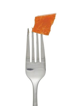 queso cheddar: De cerca la imagen de tenedor con queso cheddar Foto de archivo
