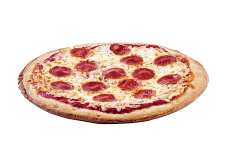 Close-up shot of pepperoni pizza isolated on white background.