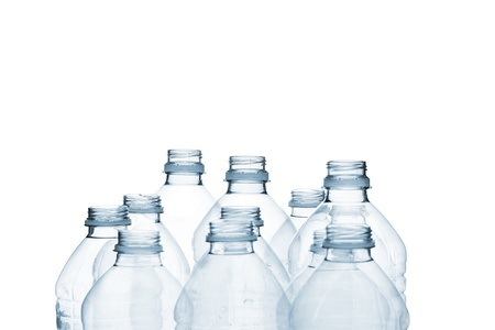 Detailed shot of plastic bottle on plain white background. photo