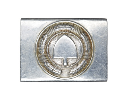 Close-up shot of silver German military belt buckle against white background. Stock Photo - 17252449