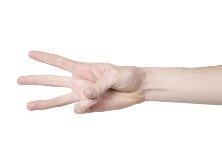 Human hand gesturing number three 版權商用圖片