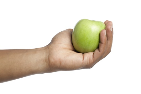 granny smith: Granny Smith Apple holding by the human hand