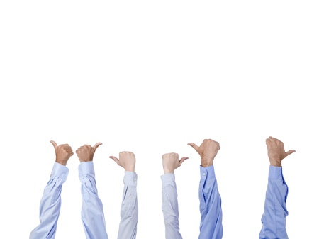 Group of hands with thumbs up isolated in a white background Stock Photo - 17257910