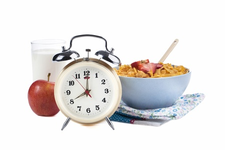 Illustration of a Healthy Meal with Alarm clock isolated on Stock Illustration - 17258632