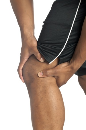 Close up image of knee pain against white background Stock Photo - 17258717