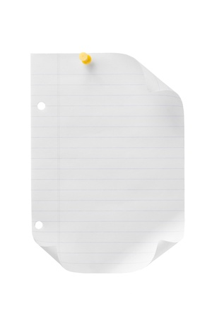ruled: An image of a lined paper with yellow thumbtack and two punch hole isolated on Stock Photo