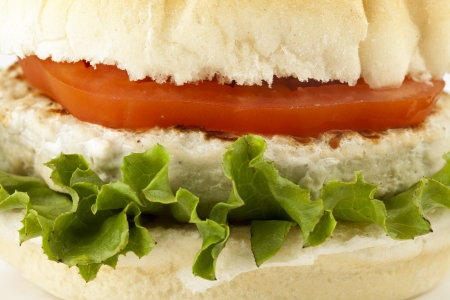 hamburguesa de pollo: Macro foto de una deliciosa hamburguesa de pollo