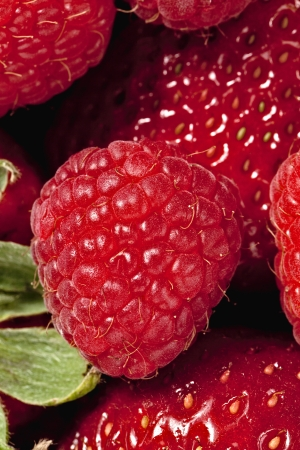 Macro image of raspberry with strawberry photo