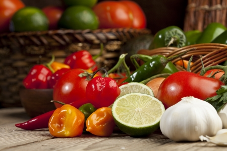 fresh produce: Group of assorted mexican vegetables and herbs