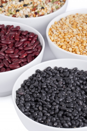 Assorted dried beans with black beans, red beans, yellow split peas and chick peas Banco de Imagens