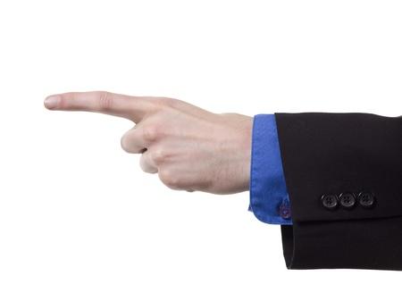 白背景側に指を指してのクローズ アップ画像