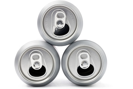 beer can: Overhead view of silver tin cans for recycling on white background