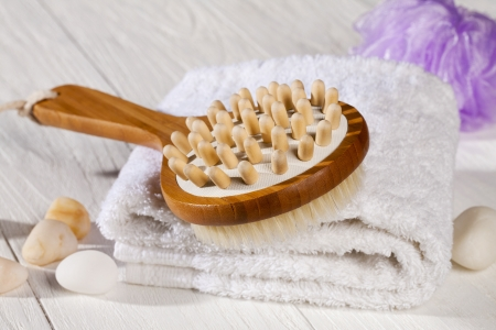 Image of spa brush and towel photo
