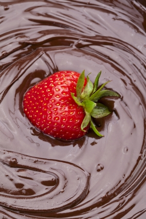 dipped: Portrait of a strawberry dipped on delicious melted chocolate