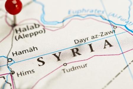 Close-up beeld van Syrië kaart met rode pin