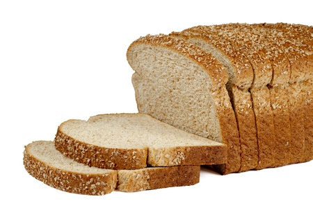 Tasty Loaf bread Slices isolated in a white background Stock Photo - 17258402