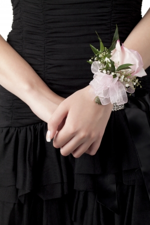 Close-up image of a female wrist with pink rose corsage Stock Photo - 17258372