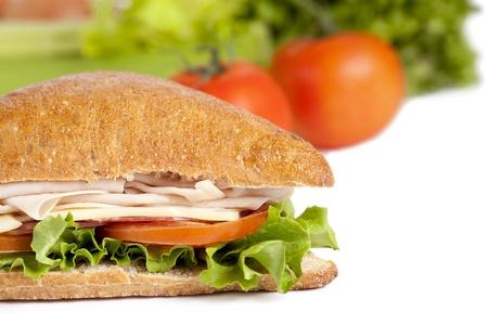 ham sandwich: Immagine ritagliata di panino al prosciutto su sfondo bianco