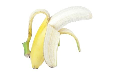 peeled banana: Close-up image of peeled banana against the white background Stock Photo