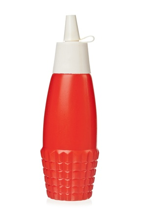 tomato catsup: Image of red plastic bottle against white background