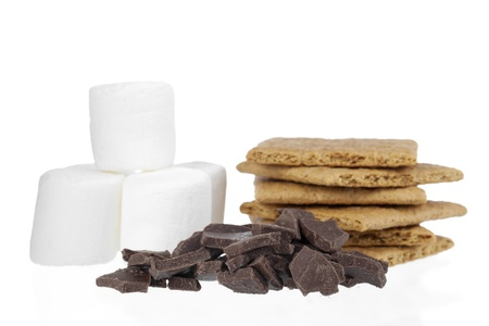 Smores ingredients with marshmallows, graham crackers and chocolate bars