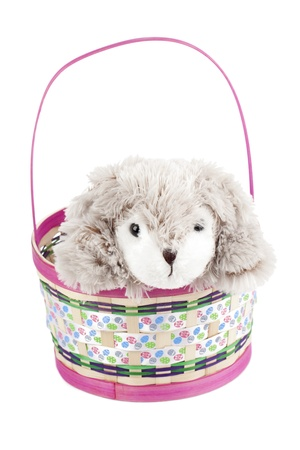 Soft toy in a wicker basket displayed on white background. Stock Photo - 17258228